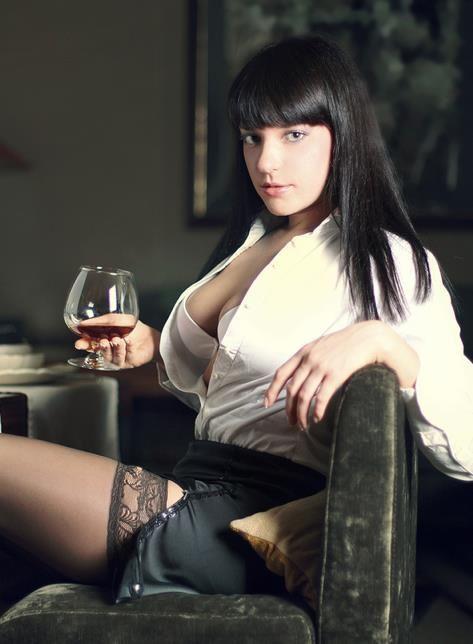Seksowna sekretarka w ponczochach